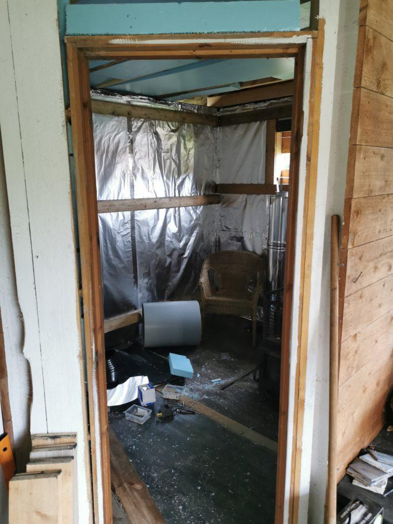 der Raum für die Sauna